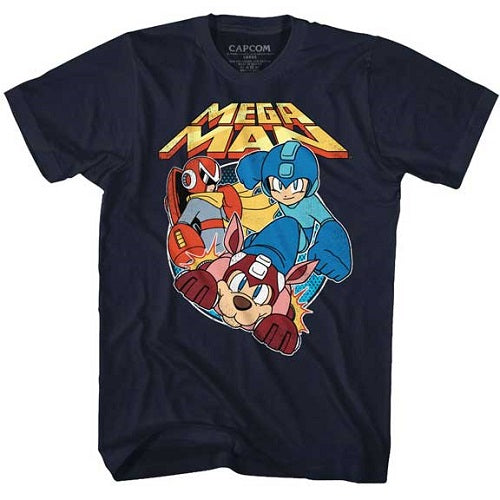 MEN'S MEGA MAN FLAT COLORS LIGHTWEIGHT TEE - Blue Culture Tees