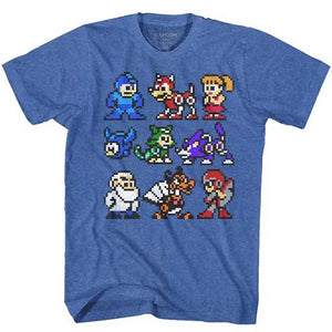 MEN'S MEGA MAN THE CAST TEE - Blue Culture Tees