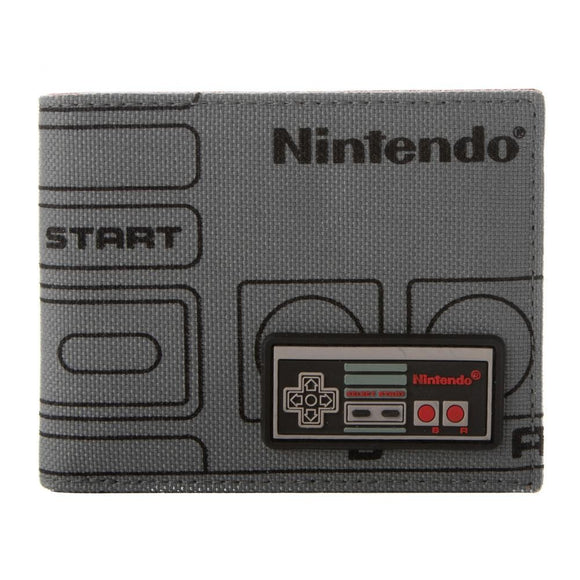 Nintendo NES Controller Mixed Material Bi-fold Wallet with RFID Protection