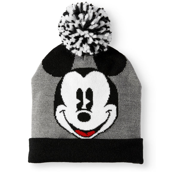Disney Mickey Mouse Instarsia Knit Cuff Pom Beanie - Blue Culture Tees