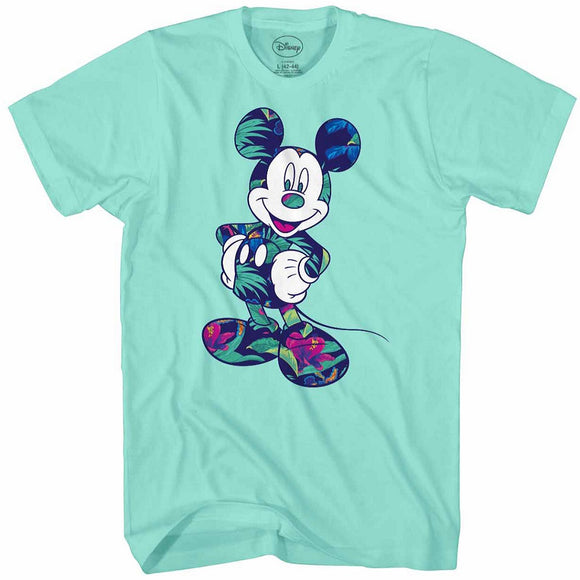 Men's Disney Floral Mickey Mouse Tee - Blue Culture Tees