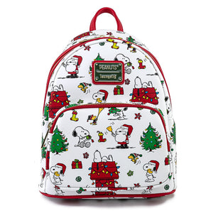 LOUNGEFLY PEANUTS HOLIDAY AOP MINI BACKPACK