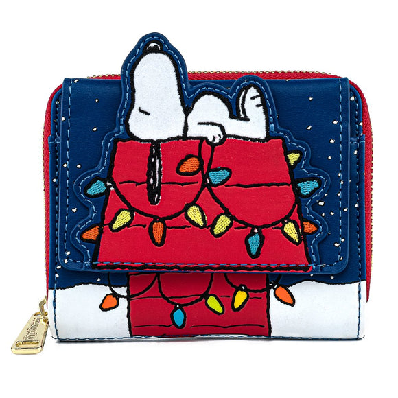 LOUNGEFLY PEANUTS HOLIDAY SNOOPY HOUSE WALLET - PREORDER
