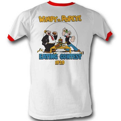 MEN'S POPEYE EATING CONTEST LIGHTWEIGHT RINGER TEE - Blue Culture Tees