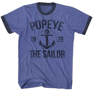 MEN'S POPEYE ANCHOR RINGER TEE - Blue Culture Tees
