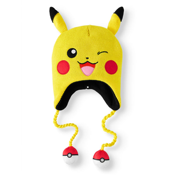 POKEMON PIKACHU WINKING KNITTED LAPLANDER WITH 3D EARS - Blue Culture Tees