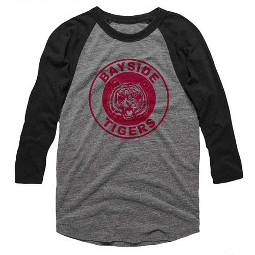 MEN'S SAVED BY THE BELL BAYSIDE TIGERS RAGLAN TEE - Blue Culture Tees