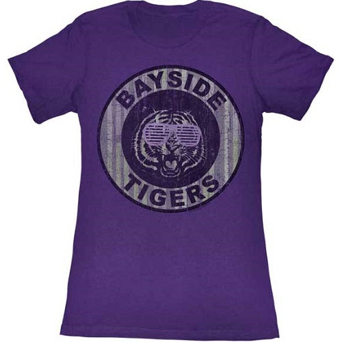 WOMEN'S SAVED BY THE BELL PINSTRIPE BAYSIDE LIGHTWEIGHT TEE