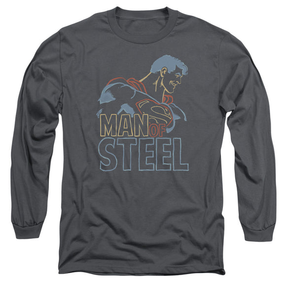 Men's DC Comics Superman Colored Lines Long Sleeve Tee