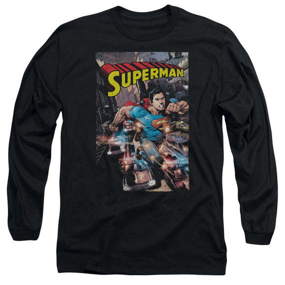Men's DC Comics Superman Action One Long Sleeve Tee