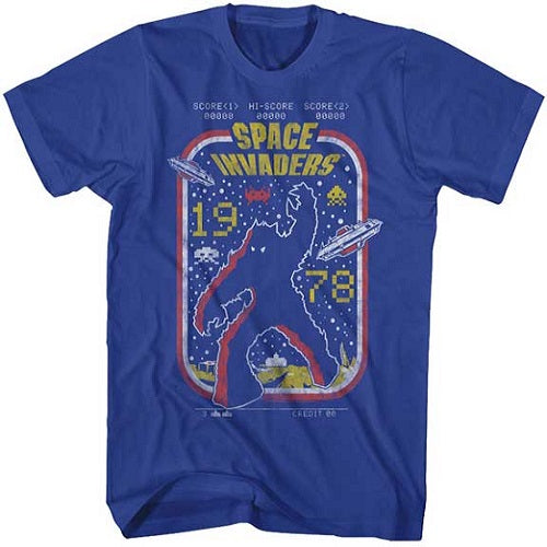 MEN'S SPACE INVADERS 1978 RETRO TEE - Blue Culture Tees