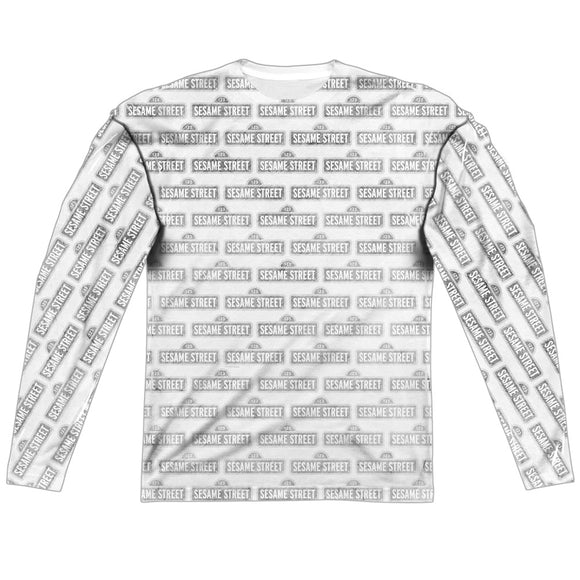 MEN'S SESAME STREET BW PATTERN SUBLIMATED LONG SLEEVE TEE