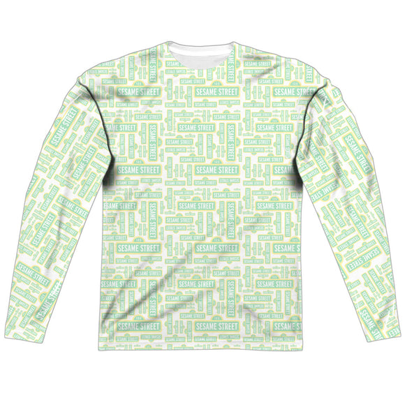 MEN'S SESAME STREET PUZZLE PATTERN SUBLIMATED LONG SLEEVE TEE
