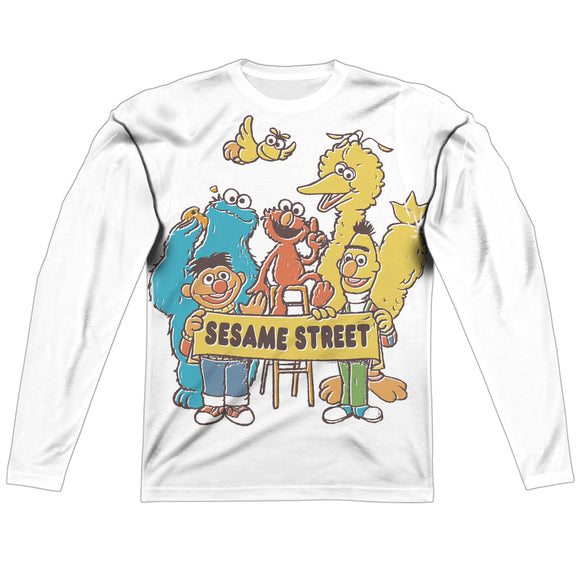 MEN'S SESAME STREET BLOCK PARTY SUBLIMATED LONG SLEEVE TEE