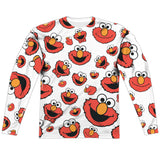 MEN'S SESAME STREET ELMO FACE PATTERN SUBLIMATED LONG SLEEVE TEE