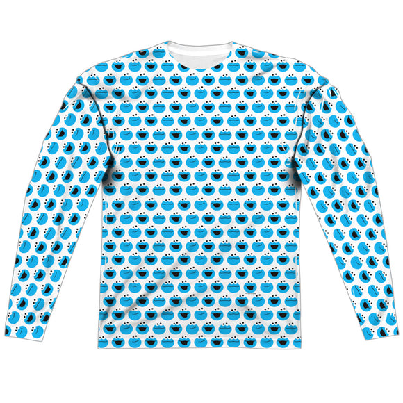 MEN'S SESAME STREET SIMPLE COOKIE PATTERN SUBLIMATED LONG SLEEVE TEE