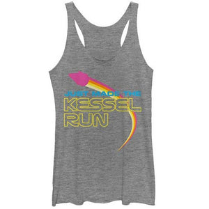 JUNIORS STAR WARS MADE THE KESSEL RUN TRI-BLEND RACERBACK TANK - Blue Culture Tees