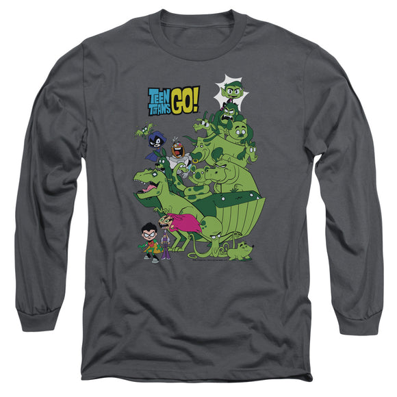 MEN'S TEEN TITANS GO! BEAST BOY STACK LONG SLEEVE TEE