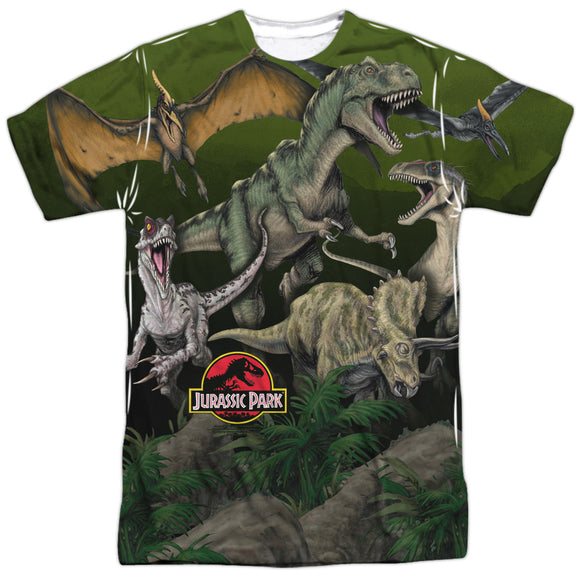 MEN'S JURASSIC PARK PACK OF DINOS SUBLIMATED TEE
