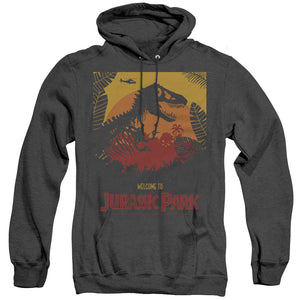 MEN'S JURASSIC PARK WELCOME TO JP HEATHER PULLOVER HOODIE