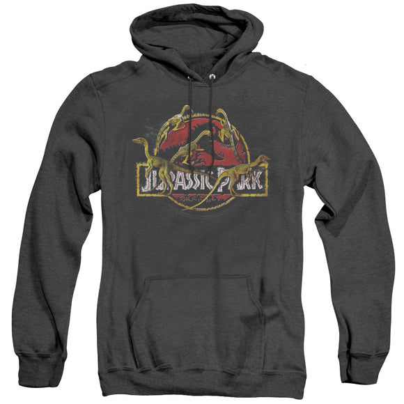 MEN'S JURASSIC PARK SOMETHING HAS SURVIVED HEATHER PULLOVER HOODIE