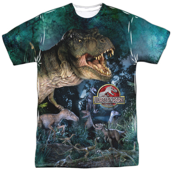 MEN'S JURASSIC PARK DINOS GATHER SUBLIMATED TEE