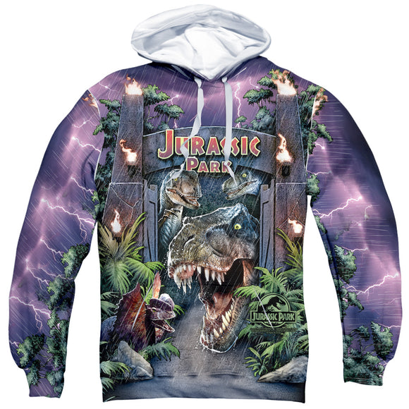 MEN'S JURASSIC PARK WELCOME TO THE PARK SUBLIMATED PULLOVER HOODIE