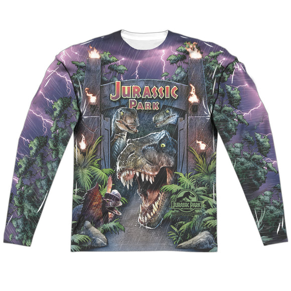 MEN'S JURASSIC PARK WELCOME TO THE PARK SUBLIMATED LONG SLEEVE TEE