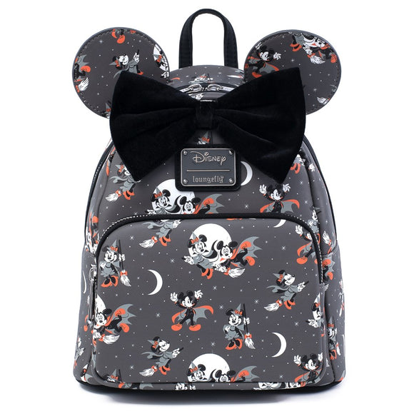 LOUNGEFLY DISNEY MICKEY MINNIE HALLOWEEN AOP MINI BACKPACK - PREORDER