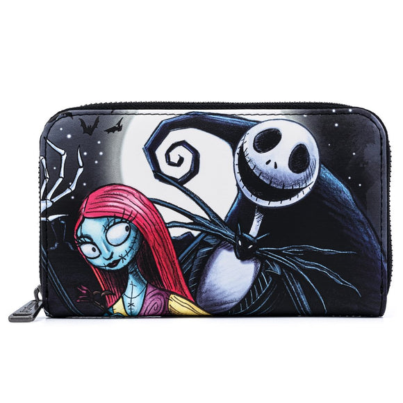 LOUNGEFLY THE NIGHTMARE BEFORE CHRISTMAS JACK AND SALLY MURAL ART ZIPAROUND WALLET