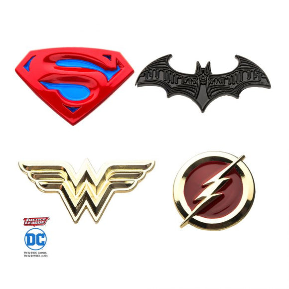 DC COMICS JUSTICE LEAGUE 4PC ENAMEL LAPEL PIN SET