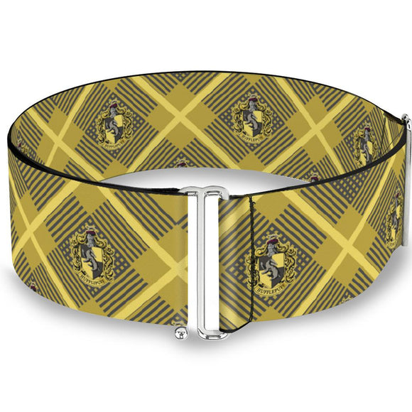 Harry Potter Hufflepuff Crest Plaid Cinch Waist Belt