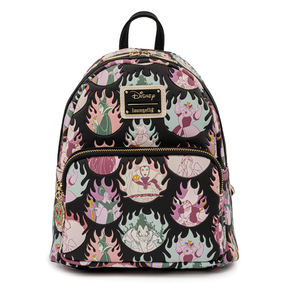 Loungefly Disney Villains Pastel Flames AOP Mini Backpack - Preorder