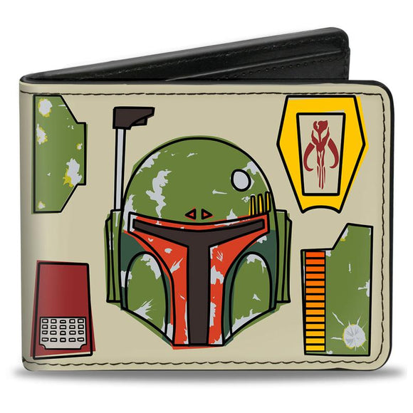 STAR WARS BOBA FETT HELMET UTILITY ELEMENTS BI-FOLD WALLET