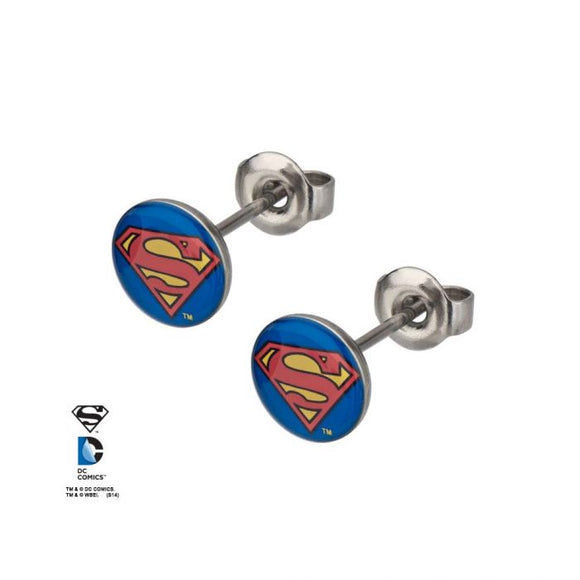 DC COMICS SUPERMAN LOGO EARRINGS