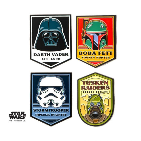 STAR WARS DARK SIDE OF THE FORCE 4PC LAPEL PIN SET