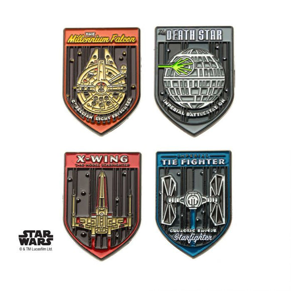 STAR WARS FIGHTERS SPACE SHIPS 4PC LAPEL PIN SET