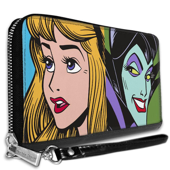 DISNEY SLEEPING BEAUTY PRINCESS AURORA AND MALEFICENT FACE BLOCKS WALLET
