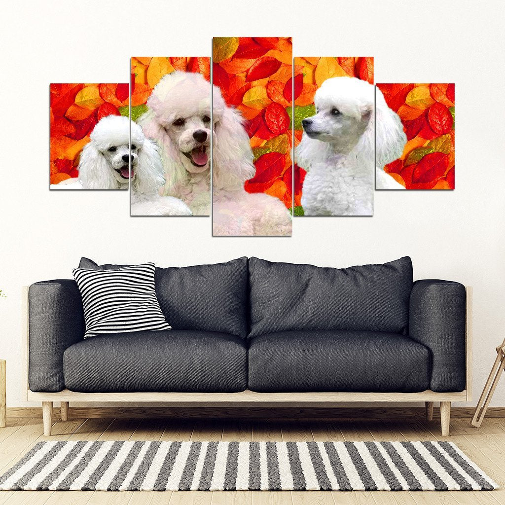 Cute Poodle Print 5 Piece Framed Canvas- Free Shipping