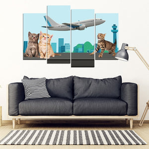 Happy Cats Print-5 Piece Framed Canvas- Free Shipping