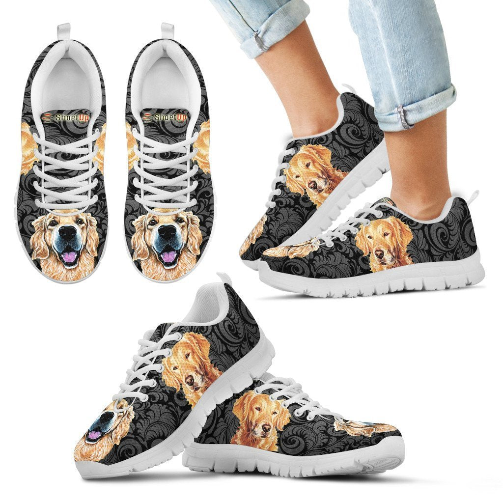Golden Retriever On Black Print-Kid's Running Shoes-Free Shipping