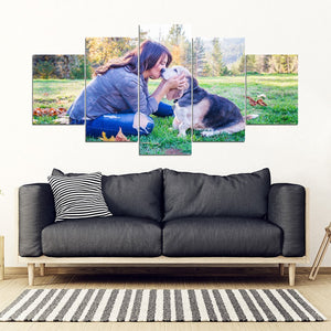 Customized Pet Print 5 Piece Framed Canvas-Free Shipping