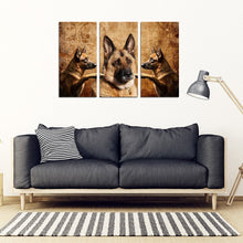 German Shepherd Print- Piece Framed Canvas- Free Shipping