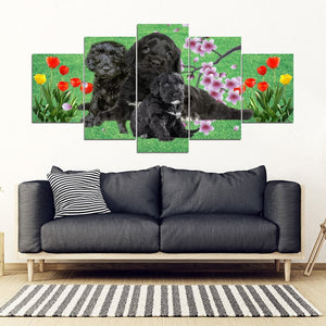 Portuguese Water Dog Print-5 Piece Framed Canvas- Free Shipping