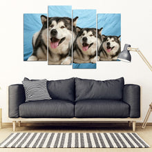 Laughing Alaskan Malamute Print- Piece Framed Canvas- Free Shipping