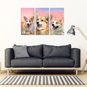 Cute Pembroke Welsh Corgi Print- Piece Framed Canvas- Free Shipping