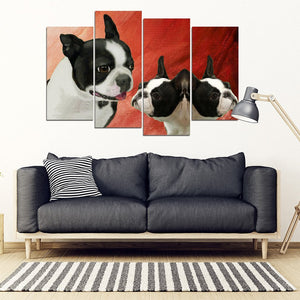 Boston Terrier Print-5 Piece Framed Canvas- Free Shipping