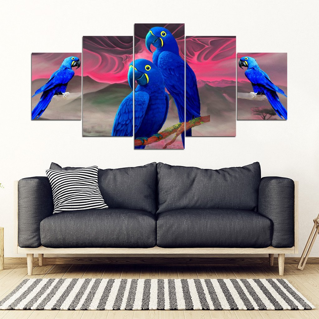 Hyacinth Macaw Parrot Print 5 Piece Framed Canvas- Free Shipping
