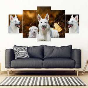 White Shepherd Print- Piece Framed Canvas- Free Shipping