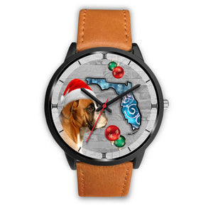 Boxer Dog On Christmas Florida Black Wrist Watch-Free Shipping